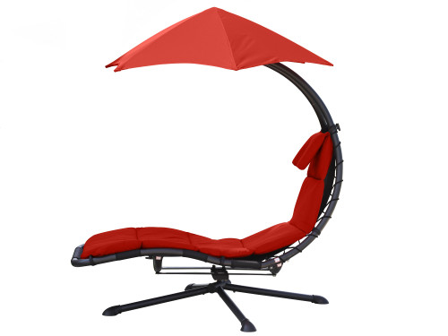 "74"" Red Outdoor Lounge Chair with an Umbrella- Pivots 360° - IMAGE 1"