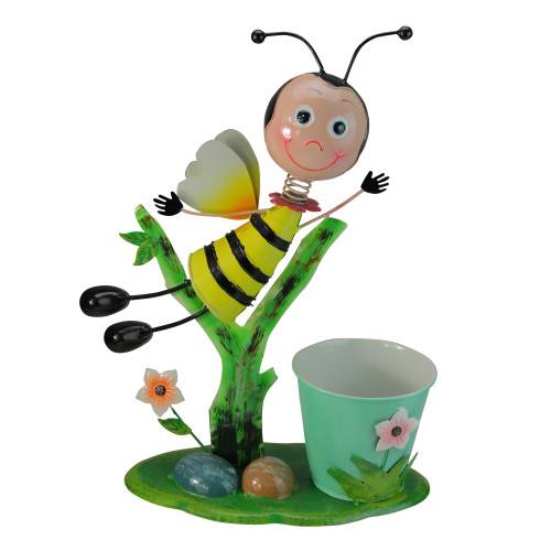 """17"""" Green and Yellow Bumblebee Flying Over Flowers Spring Outdoor Garden Planter - IMAGE 1"""