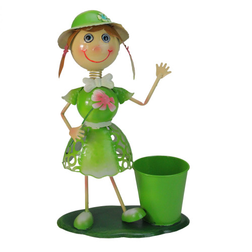 """17"""" Lime Green and Pink Girl with Flower Spring Outdoor Garden Planter - IMAGE 1"""