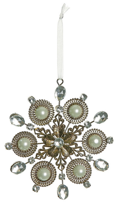 """5.5"""" Bronze and Clear Jeweled Regal Snowflake Christmas Ornament - IMAGE 1"""