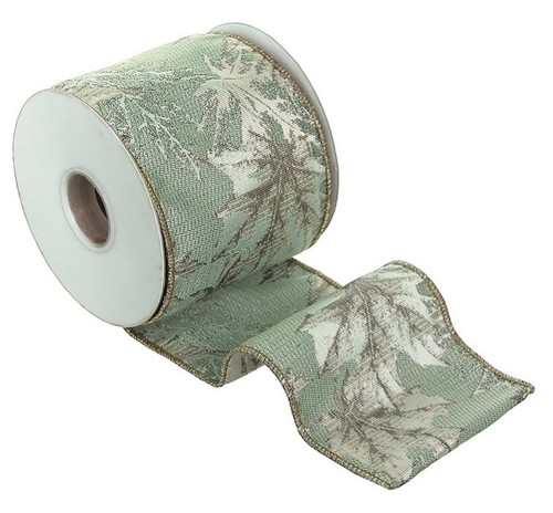 "Silent Luxury Metallic Aqua, Champagne Gold and Silver Maple Leaf Jacquard Wired Craft Ribbon 4"" x 10 Yards - IMAGE 1"