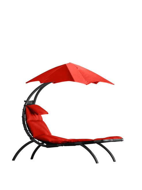 """72"""" Red Low Outdoor Lounge Chair with an Overhanging Umbrella - IMAGE 1"""