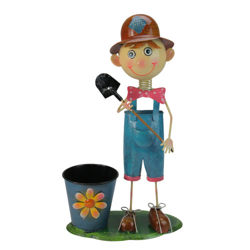 """20"""" Blue and Pink Boy with Shovel Outdoor Garden Planter - IMAGE 1"""