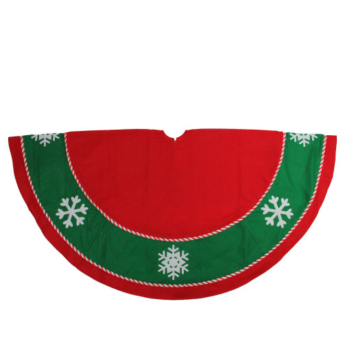 "48"" Red and Green Snowflake Christmas Tree Skirt - IMAGE 1"