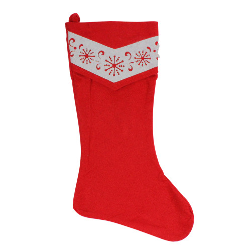 """20.5"""" Red and White Fleece Snowflake Cut-Out Christmas Stocking - IMAGE 1"""