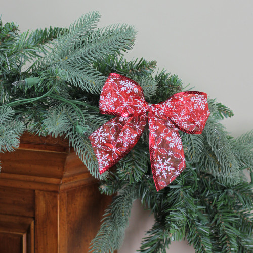 """Pack of 6 Sheer Red with White Snowflakes 2 Loop Christmas Bow Decorations 5"""" - IMAGE 1"""
