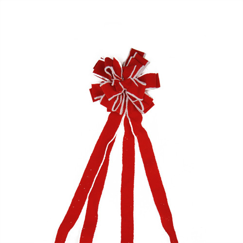 """48"""" Red and White Fringe 16 Loop Commercial Christmas Bow Decoration - IMAGE 1"""