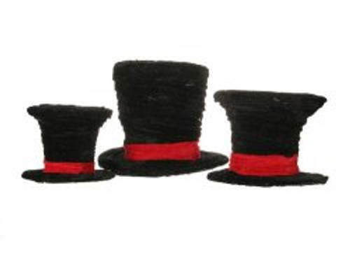 """Set of 3 Black Velveteen Wrapped Top Hat Christmas Table Decorations 7"""" - IMAGE 1"""