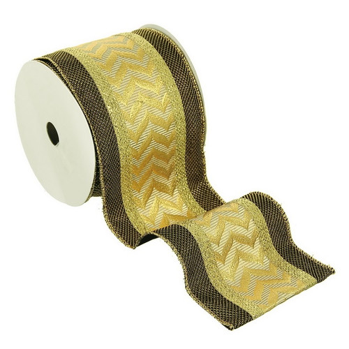 """Gold and Brown Metallic Flame Chevron Wired Craft Christmas Ribbon 4"""" x 5 Yards - IMAGE 1"""