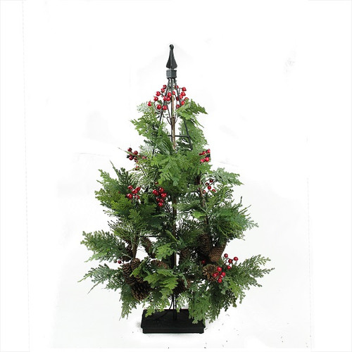 """36"""" Green and Red Slim Mixed Cedar Artificial Christmas Tree - Unlit - IMAGE 1"""