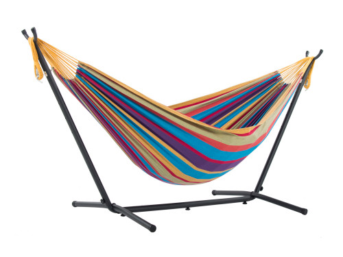 """110"""" Yellow and Purple Striped Brazilian Style Hammock with a Steel Hammock Stand - IMAGE 1"""