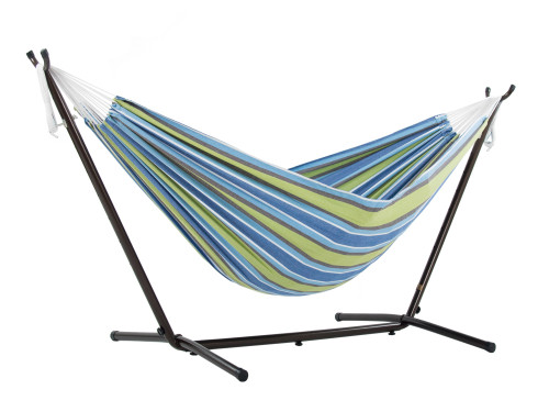 """110"""" Blue and Green Striped Brazilian Style Hammock with a Steel Hammock Stand - IMAGE 1"""