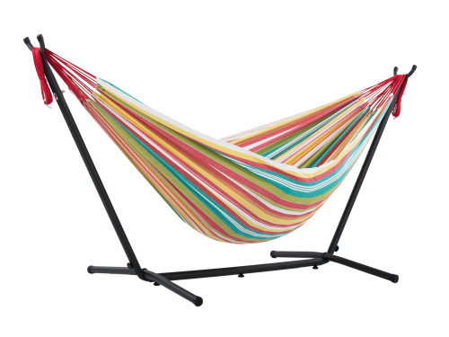 """110"""" Red and Green Striped Brazilian Style Hammock with a Steel Hammock Stand - IMAGE 1"""