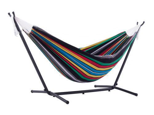 """110"""" Black and Blue Striped Brazilian Style Hammock with a Steel Hammock Stand - IMAGE 1"""