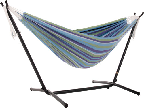 "110"" Blue Striped Brazilian Style Hammock with a Steel Hammock Stand - IMAGE 1"