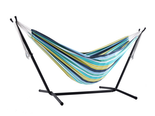 """110"""" Yellow and Blue Striped Brazilian Style Hammock with a Steel Hammock Stand - IMAGE 1"""