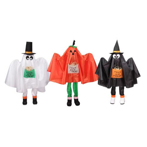 """Set of 3 Ghost, Pumpkin and Bat Standing Halloween Kid Figures 36"""" - IMAGE 1"""