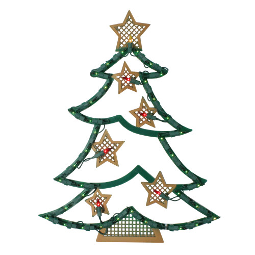 """17.75"""" Lighted Christmas Tree with Stars Window Silhouette - IMAGE 1"""