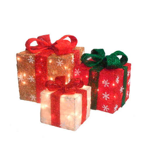 "Set of 3 Pre-Lit Red and Ivory Christmas Gift Boxes 10"" - IMAGE 1"