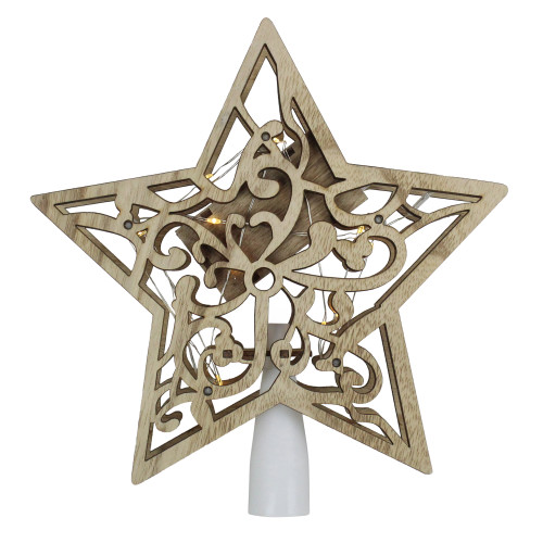 """10"""" Lighted Brown Star with Cut-Out Design Christmas Tree Topper - Clear Lights - IMAGE 1"""