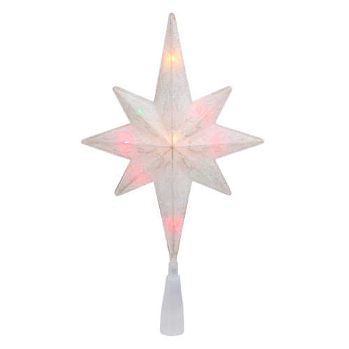 """11"""" White Frosted Bethlehem Star with Gold Scrolling Christmas Tree Topper - Multi Lights - IMAGE 1"""