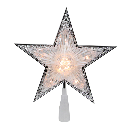 """9"""" Pre-Lit Silver and Clear Crystal 5 Point Star Christmas Tree Topper - Clear Lights - IMAGE 1"""