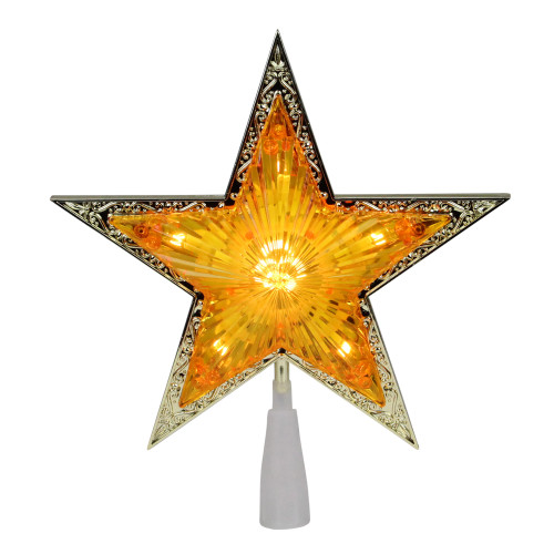 """9"""" Pre-Lit Gold and Amber Crystal 5 Point Star Christmas Tree Topper - Clear Lights - IMAGE 1"""