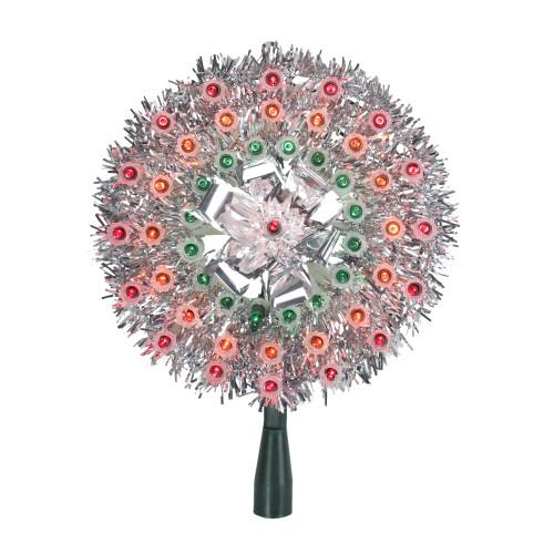 "8"" Pre-Lit Silver Starburst Christmas Tree Topper - Multicolor Lights - IMAGE 1"