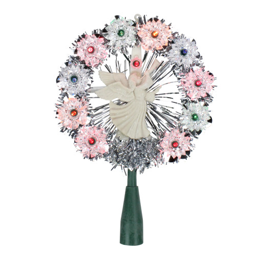 """8"""" Pre-Lit Silver Tinsel Wreath with Angel Christmas Tree Topper - Multi Lights - IMAGE 1"""