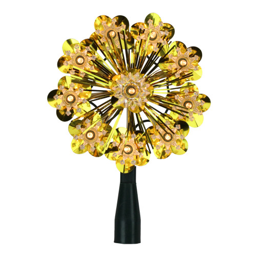 """5.5"""" Gold Snowflake Starburst Christmas Tree Topper - Clear Lights - IMAGE 1"""