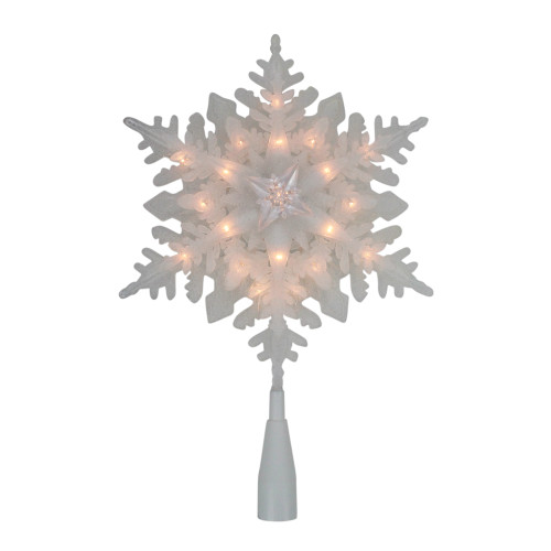 """10"""" Lighted White Snowflake Christmas Tree Topper - Clear Lights - IMAGE 1"""