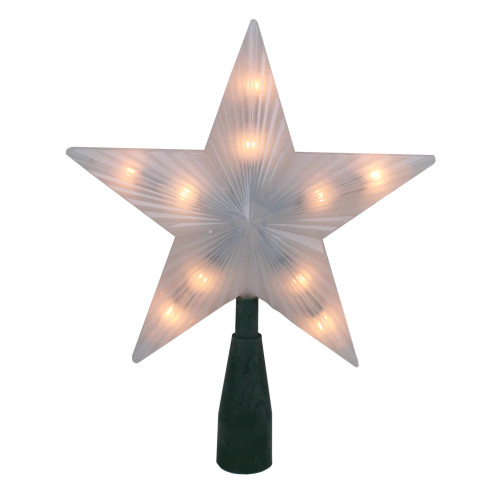"""7"""" Pre-Lit White Frosted 5-Point Star Christmas Tree Topper - Clear Lights - IMAGE 1"""