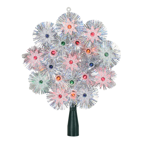 "8"" Pre-Lit Silver Retro Starburst Christmas Tree Topper - Multicolor Lights - IMAGE 1"