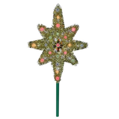"21"" Lighted Gold Star of Bethlehem Christmas Tree Topper - Multicolor Lights - IMAGE 1"