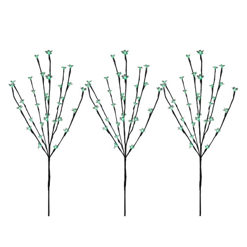 Set of 3 Pre-Lit Cherry Blossom Artificial Tree Branches 2.5' - Green LED Lights - IMAGE 1