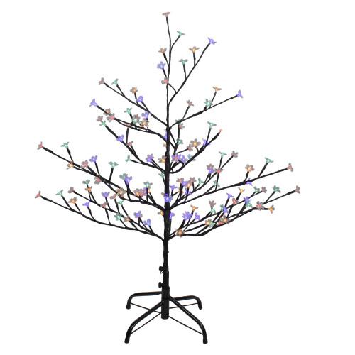 4' Pre-Lit Cherry Blossom Flower Artificial Tree - Multicolor LED Lights - IMAGE 1