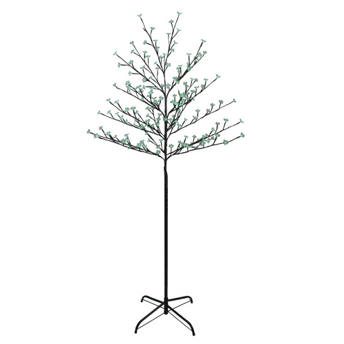 6' Pre-Lit Cherry Blossom Flower Artificial Tree - Green LED Lights - IMAGE 1