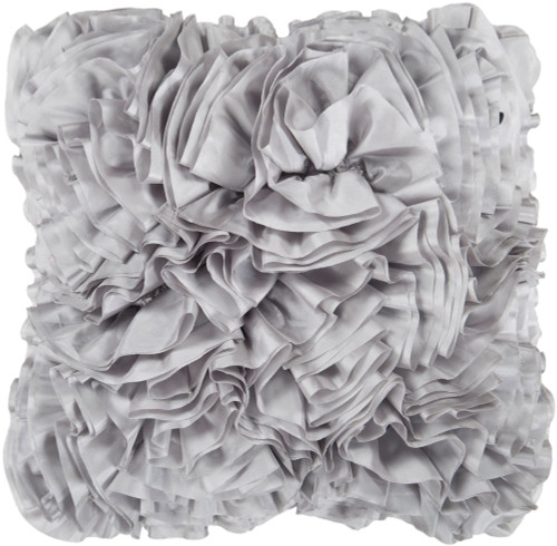 """22"""" Gray Fringed Textured Square Throw Pillow Cover - IMAGE 1"""