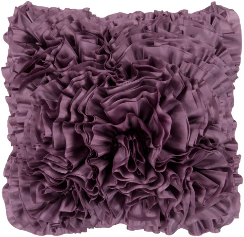 """18"""" Purple Fringed Soft Textured Square Throw Pillow Cover - IMAGE 1"""