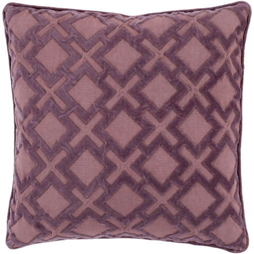 "20"" Purple Geometric Square Throw Pillow Cover - IMAGE 1"
