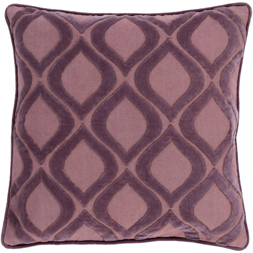 "22"" Purple Ogee Square Throw Pillow Cover - IMAGE 1"