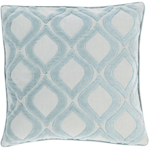 "22"" Cloud Blue and Sky Gray Ogee Square Throw Pillow Cover - IMAGE 1"
