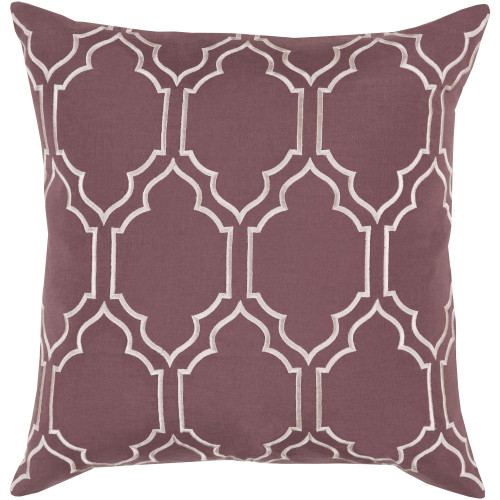 """20"""" Purple and Ivory White Moroccan Style Square Throw Pillow Cover - IMAGE 1"""