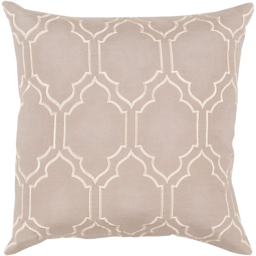 """20"""" Taupe and Beige Moroccan Style Square Throw Pillow Cover - IMAGE 1"""