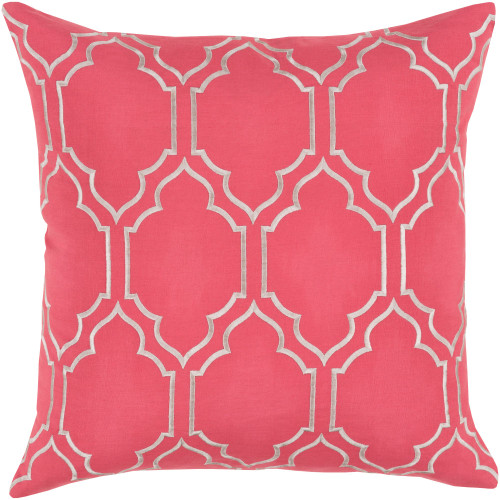 """20"""" Strawberry Pink and Gray Moroccan Style Square Throw Pillow Cover - IMAGE 1"""