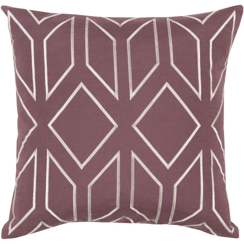 "18"" Purple and White Geometric Square Throw Pillow Cover - IMAGE 1"