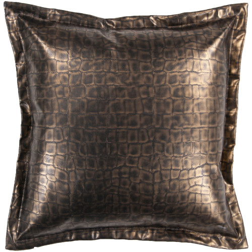 """18"""" Black and Metallic Gold Crocodile Skin Printed Square Throw Pillow Cover - IMAGE 1"""