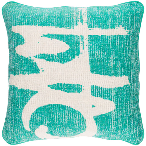"""20"""" Emerald Green and Ivory Abstract Square Throw Pillow Cover - IMAGE 1"""