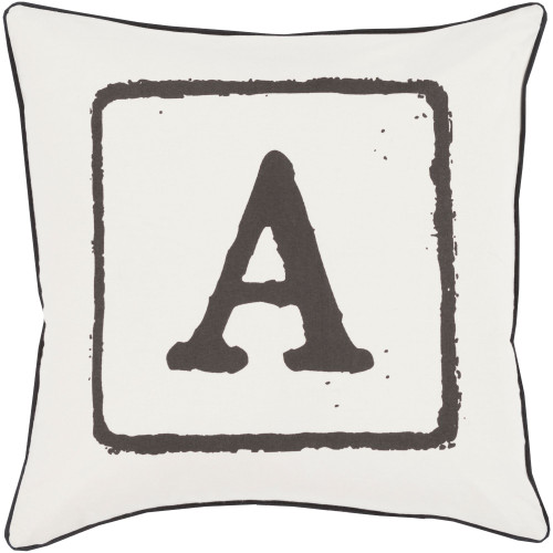 """22"""" Black and Ivory """"A"""" Printed Square Throw Pillow Cover - IMAGE 1"""
