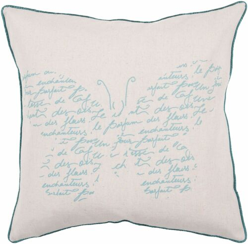 "20"" Beige and Teal Blue Butterfly Design Square Throw Pillow Cover - IMAGE 1"